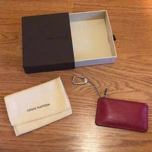 LOUIS VUITTON Epi zipper Key Pouch w/ keychain Red